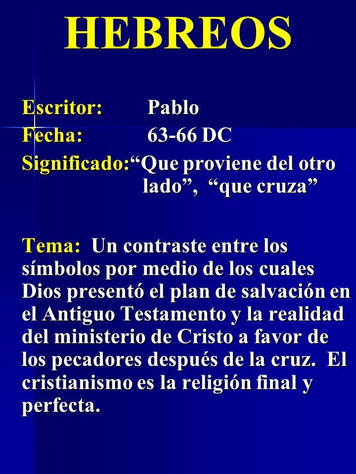 Escritor:Pablo Fecha:63-66 DC Significado:Que proviene del otro lado, que cruza HEBREOS Tema: Un contraste entre los símbolos por medio de los cuales