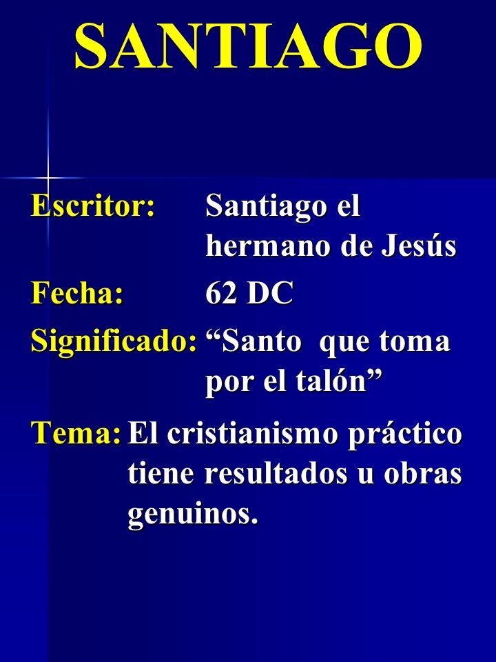 Escritor:Santiago el hermano de Jesús Fecha:62 DC Significado:Santo que toma por el talón SANTIAGO Tema:El cristianismo práctico tiene resultados u ob