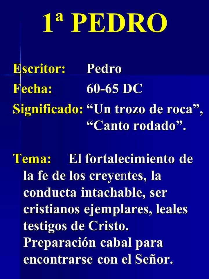 Escritor:Pedro Fecha:60-65 DC Significado:Un trozo de roca, Canto rodado. 1ª PEDRO Tema:El fortalecimiento de la fe de los creyentes, la conducta inta