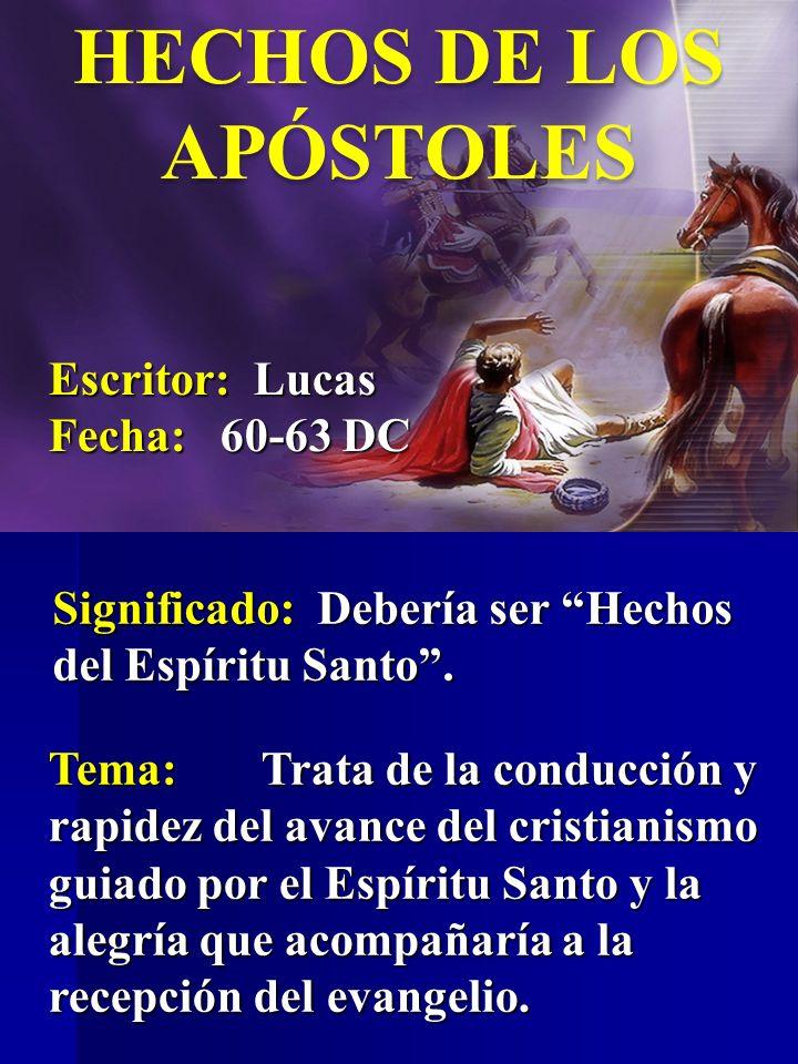 HECHOS DE LOS APÓSTOLES Escritor: Lucas Fecha: 60-63 DC Tema:Trata de la conducción y rapidez del avance del cristianismo guiado por el Espíritu Santo