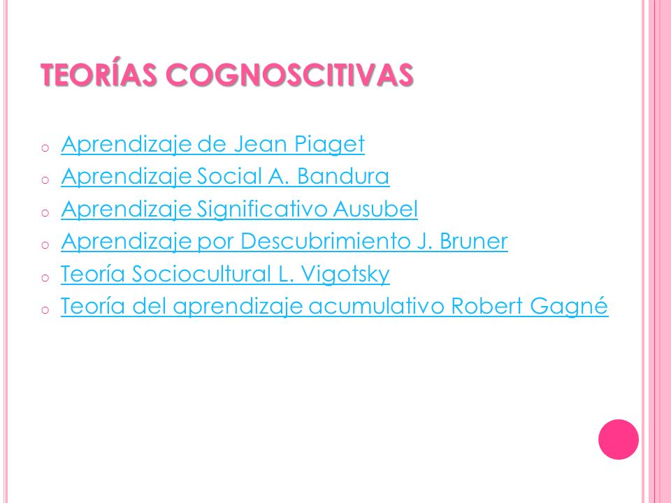 TEORÍAS COGNOSCITIVAS o Aprendizaje de Jean Piaget Aprendizaje de Jean Piaget o Aprendizaje Social A. Bandura Aprendizaje Social A. Bandura o Aprendiz
