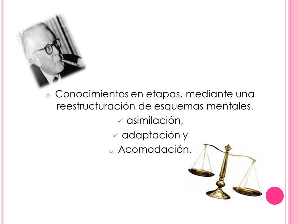 o Conocimientos en etapas, mediante una reestructuración de esquemas mentales. asimilación, adaptación y o Acomodación.