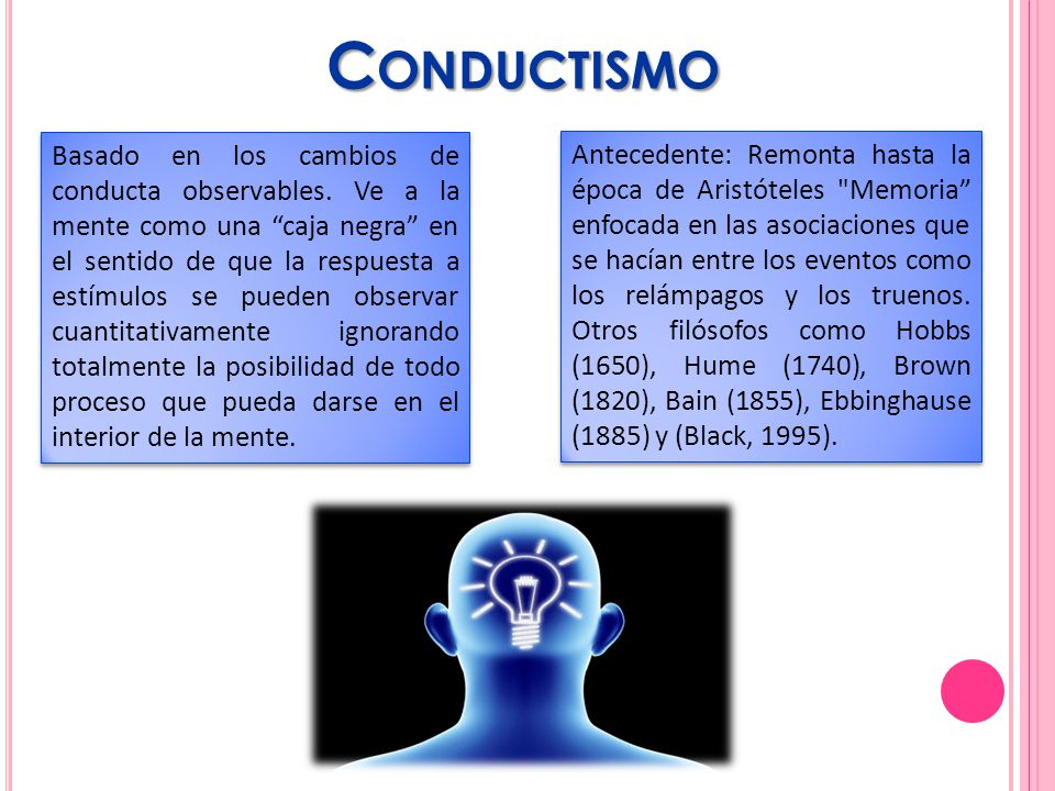 C ONDUCTISMO Basado en los cambios de conducta observables. Ve a la mente como una caja negra en el sentido de que la respuesta a estímulos se pueden