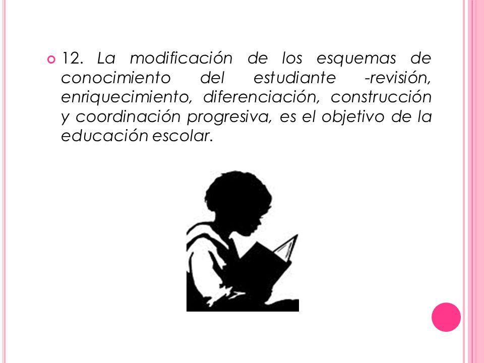 12. La modificación de los esquemas de conocimiento del estudiante -revisión, enriquecimiento, diferenciación, construcción y coordinación progresiva,