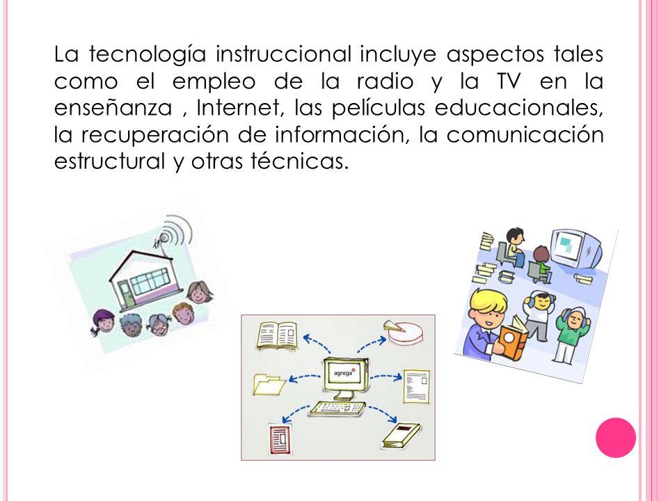 La tecnología instruccional incluye aspectos tales como el empleo de la radio y la TV en la enseñanza, Internet, las películas educacionales, la recup