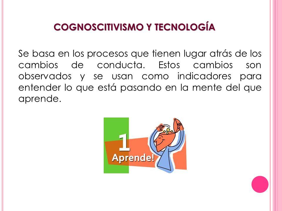COGNOSCITIVISMO Y TECNOLOGÍA Se basa en los procesos que tienen lugar atrás de los cambios de conducta. Estos cambios son observados y se usan como in