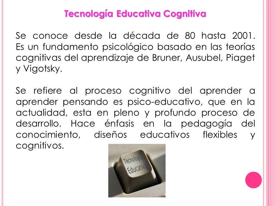 Tecnología Educativa Cognitiva Se conoce desde la década de 80 hasta 2001. Es un fundamento psicológico basado en las teorías cognitivas del aprendiza