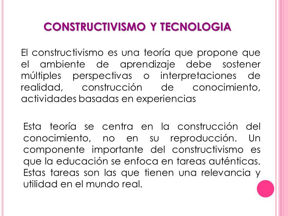 CONSTRUCTIVISMO Y TECNOLOGIA El constructivismo es una teoría que propone que el ambiente de aprendizaje debe sostener múltiples perspectivas o interp