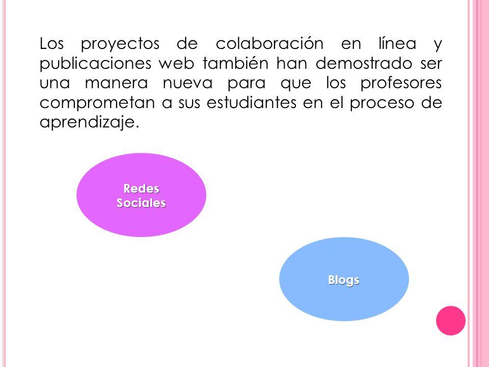 Redes Sociales Blogs Los proyectos de colaboración en línea y publicaciones web también han demostrado ser una manera nueva para que los profesores co