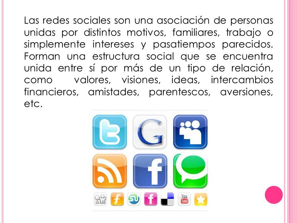 Las redes sociales son una asociación de personas unidas por distintos motivos, familiares, trabajo o simplemente intereses y pasatiempos parecidos. F