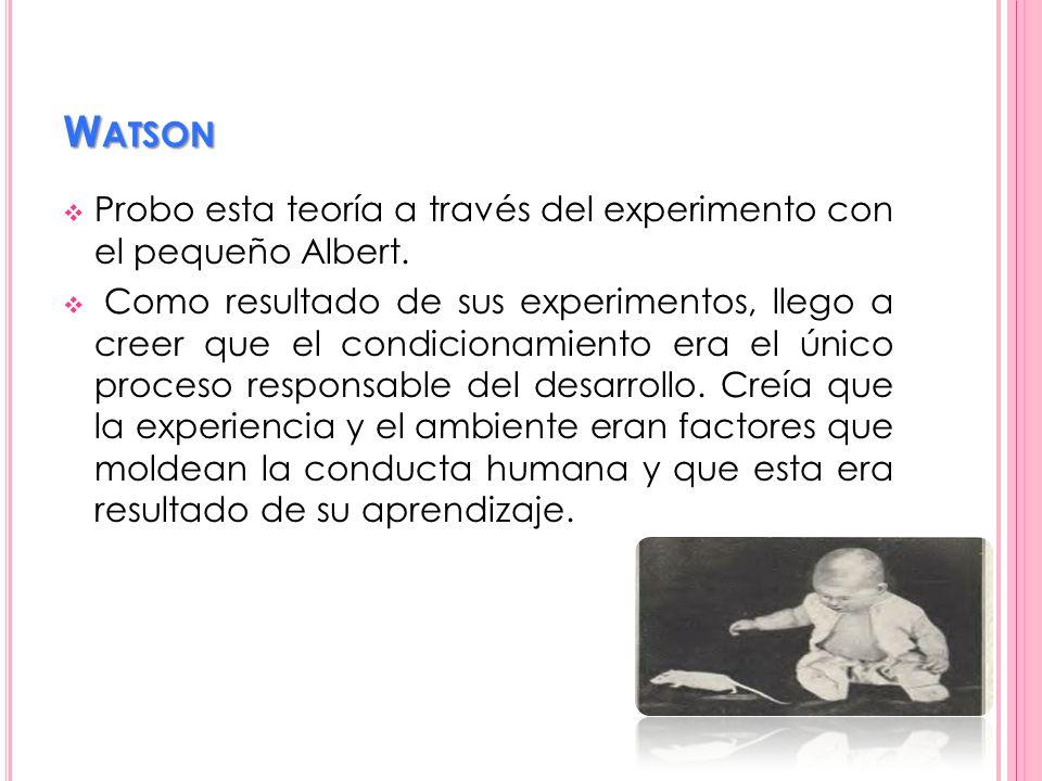 W ATSON Probo esta teoría a través del experimento con el pequeño Albert. Como resultado de sus experimentos, llego a creer que el condicionamiento er