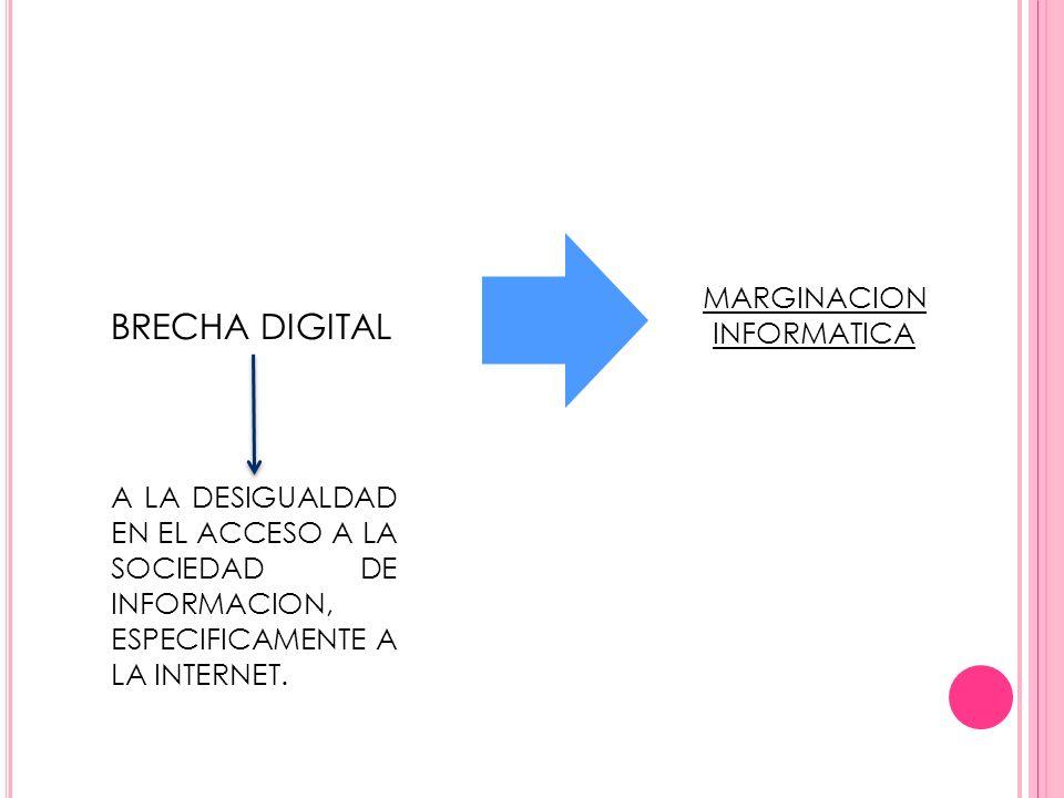 BRECHA DIGITAL A LA DESIGUALDAD EN EL ACCESO A LA SOCIEDAD DE INFORMACION, ESPECIFICAMENTE A LA INTERNET. MARGINACION INFORMATICA