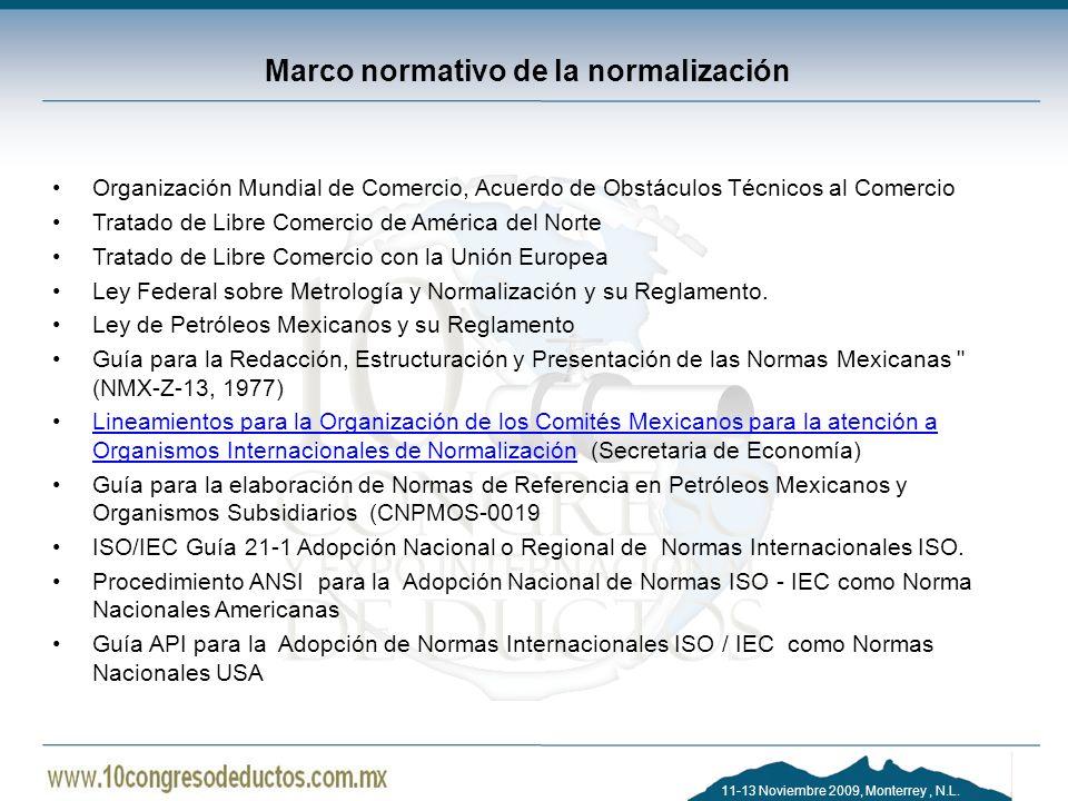 11-13 Noviembre 2009, Monterrey, N.L. Marco normativo de la normalización Organización Mundial de Comercio, Acuerdo de Obstáculos Técnicos al Comercio