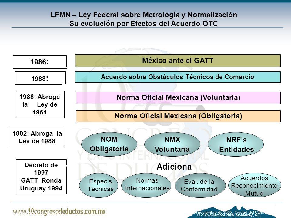 11-13 Noviembre 2009, Monterrey, N.L. LFMN – Ley Federal sobre Metrología y Normalización Su evolución por Efectos del Acuerdo OTC 1988: Abroga la Ley