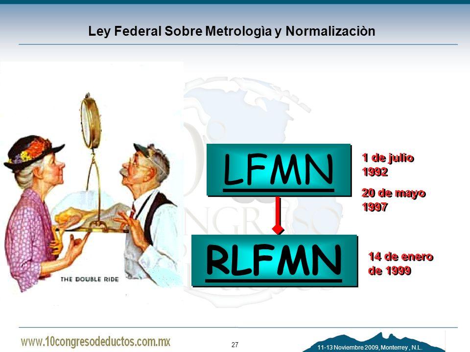 11-13 Noviembre 2009, Monterrey, N.L. Ley Federal Sobre Metrologìa y Normalizaciòn LFMN RLFMN 1 de julio 1992 20 de mayo 1997 1 de julio 1992 20 de ma