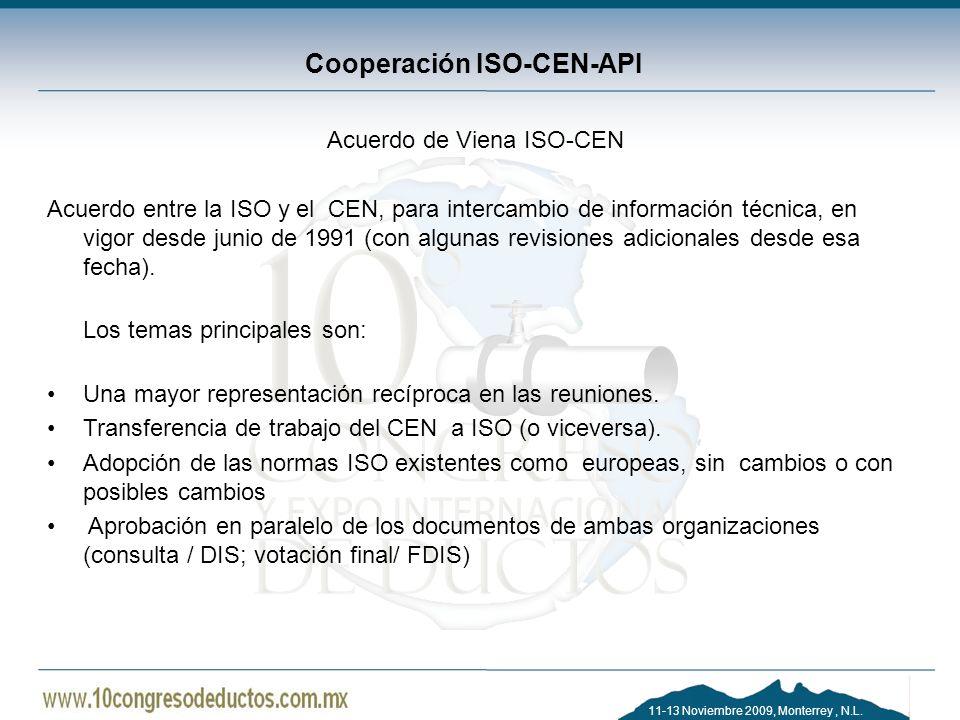 11-13 Noviembre 2009, Monterrey, N.L. Cooperación ISO-CEN-API Acuerdo de Viena ISO-CEN Acuerdo entre la ISO y el CEN, para intercambio de información
