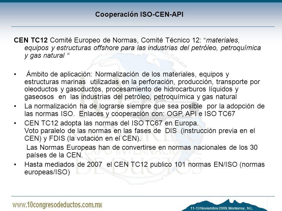 11-13 Noviembre 2009, Monterrey, N.L. Cooperación ISO-CEN-API CEN TC12 Comité Europeo de Normas, Comité Técnico 12: materiales, equipos y estructuras