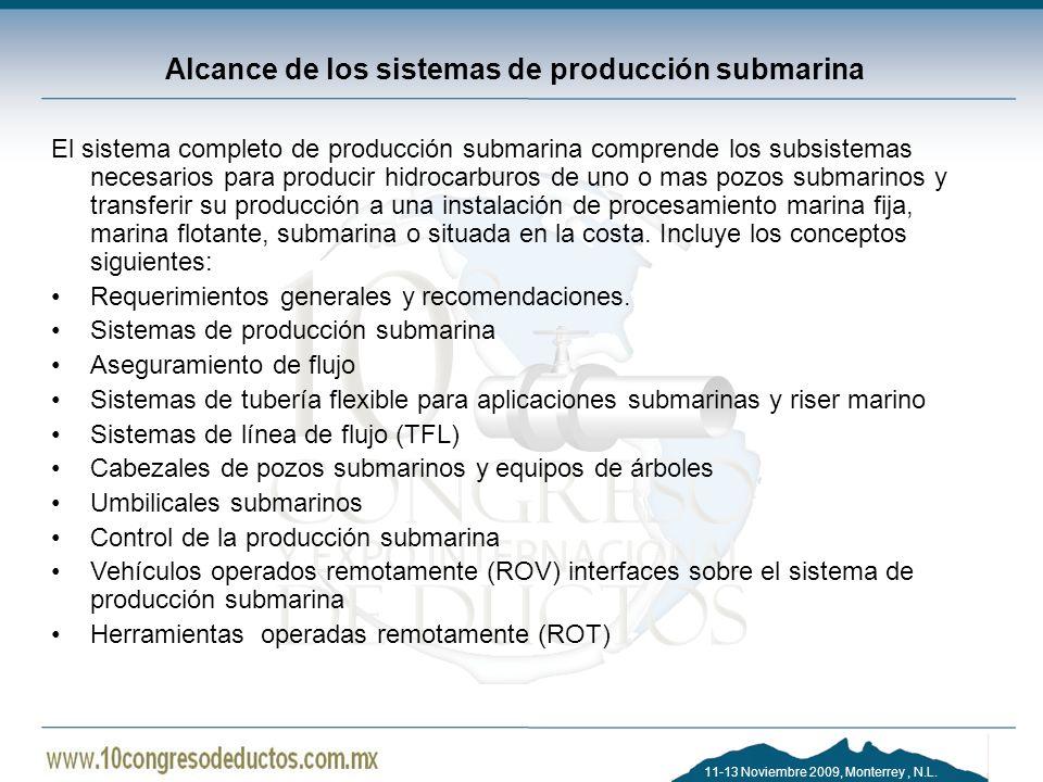 11-13 Noviembre 2009, Monterrey, N.L. Alcance de los sistemas de producción submarina El sistema completo de producción submarina comprende los subsis