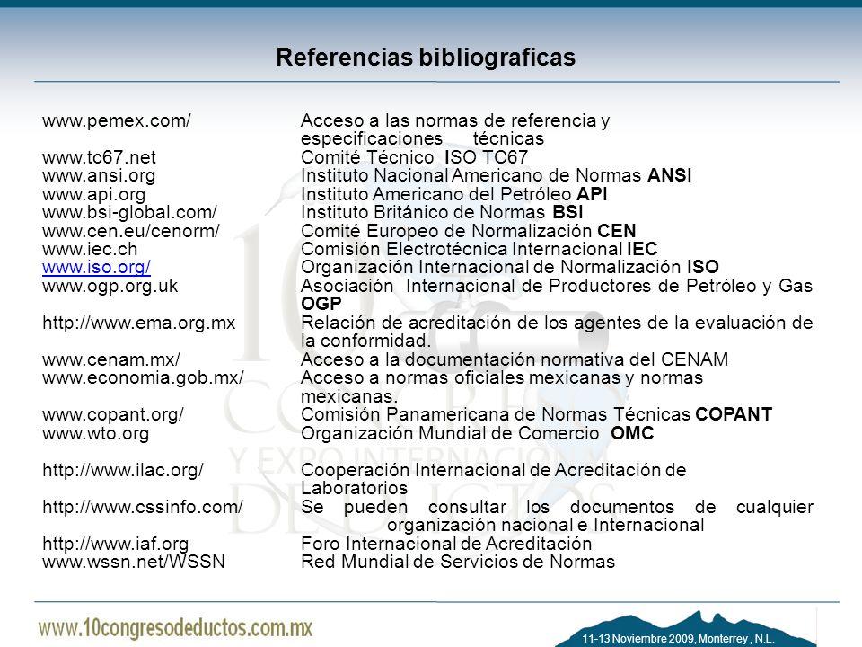 11-13 Noviembre 2009, Monterrey, N.L. Referencias bibliograficas www.pemex.com/ Acceso a las normas de referencia y especificaciones técnicas www.tc67