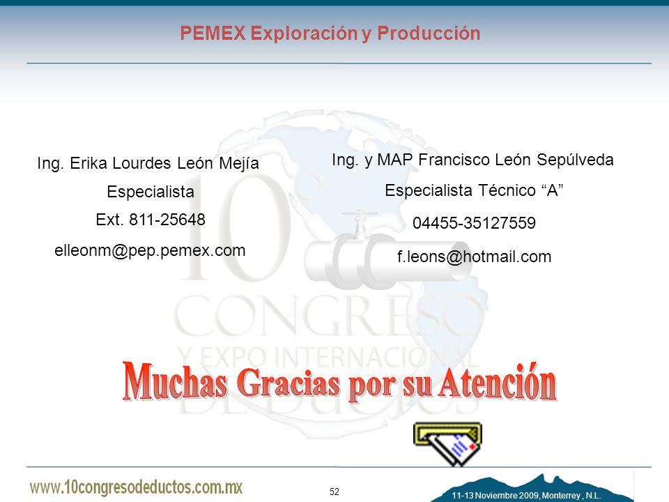 11-13 Noviembre 2009, Monterrey, N.L. PEMEX Exploración y Producción 52 Ing. y MAP Francisco León Sepúlveda Especialista Técnico A 04455-35127559 f.le