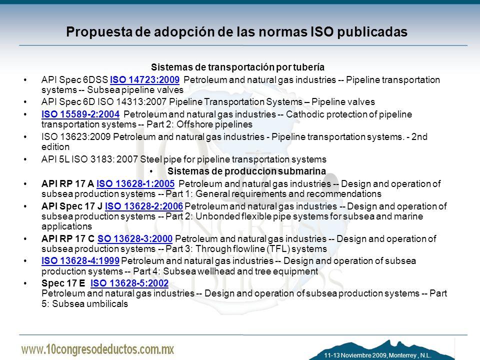 11-13 Noviembre 2009, Monterrey, N.L. Propuesta de adopción de las normas ISO publicadas Sistemas de transportación por tubería API Spec 6DSS ISO 1472