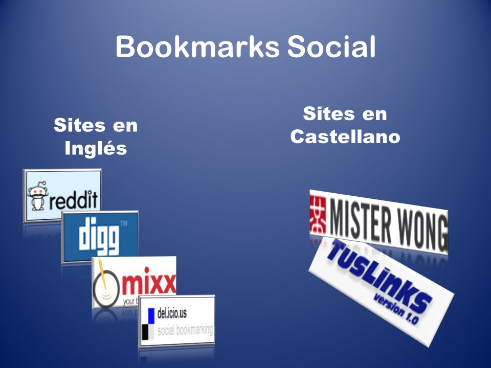Bookmarks Social Sites en Inglés Sites en Castellano