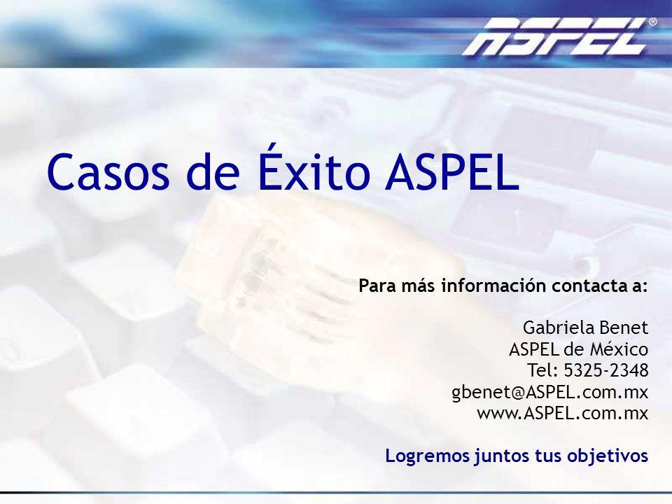 Para más información contacta a: Gabriela Benet ASPEL de México Tel: 5325-2348 gbenet@ASPEL.com.mx www.ASPEL.com.mx Logremos juntos tus objetivos