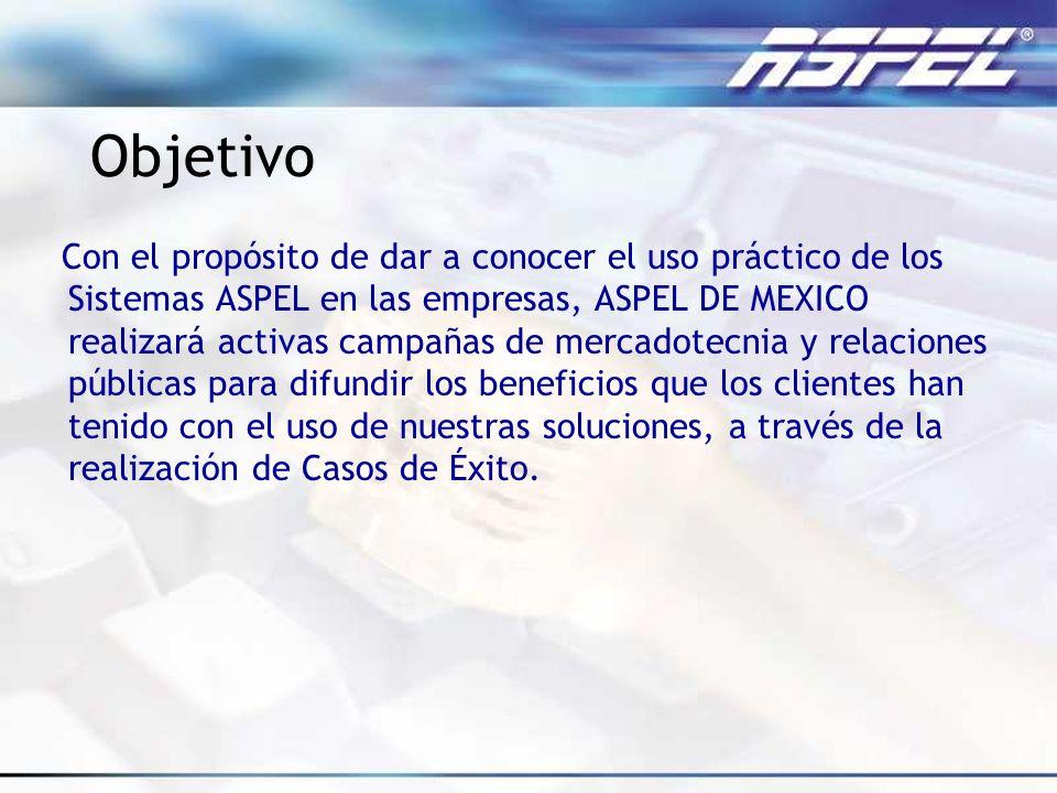 Objetivo Con el propósito de dar a conocer el uso práctico de los Sistemas ASPEL en las empresas, ASPEL DE MEXICO realizará activas campañas de mercad