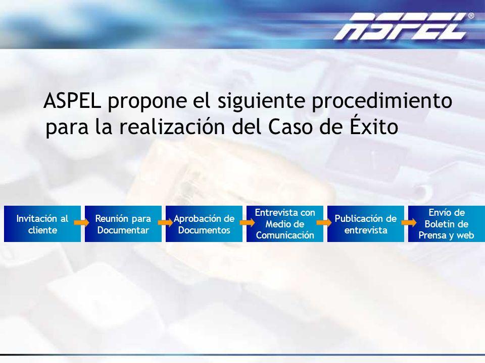 ASPEL propone el siguiente procedimiento para la realización del Caso de Éxito Envío de Boletin de Prensa y web Invitación al cliente Reunión para Doc