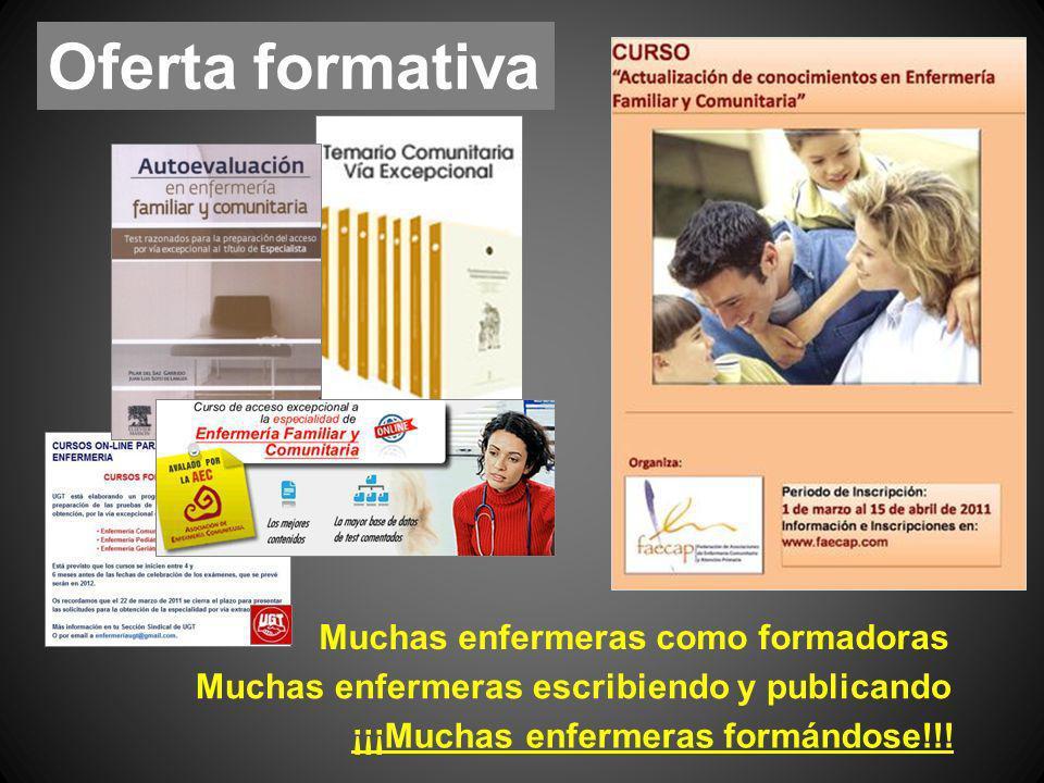 Muchas enfermeras como formadoras ¡¡¡Muchas enfermeras formándose!!! Muchas enfermeras escribiendo y publicando Oferta formativa