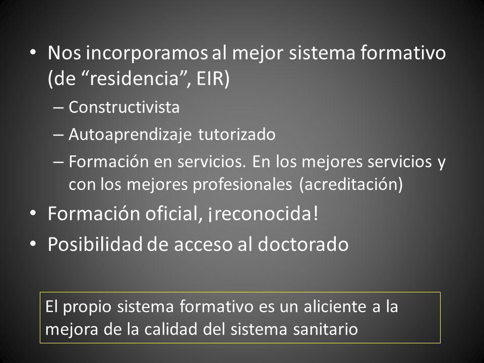 Nos incorporamos al mejor sistema formativo (de residencia, EIR) – Constructivista – Autoaprendizaje tutorizado – Formación en servicios. En los mejor