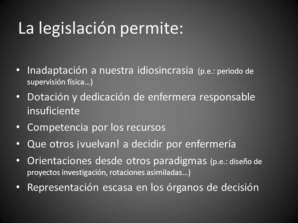La legislación permite: Inadaptación a nuestra idiosincrasia (p.e.: periodo de supervisión física…) Dotación y dedicación de enfermera responsable ins