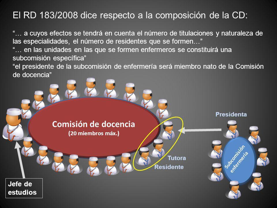 El RD 183/2008 dice respecto a la composición de la CD: … a cuyos efectos se tendrá en cuenta el número de titulaciones y naturaleza de las especialid