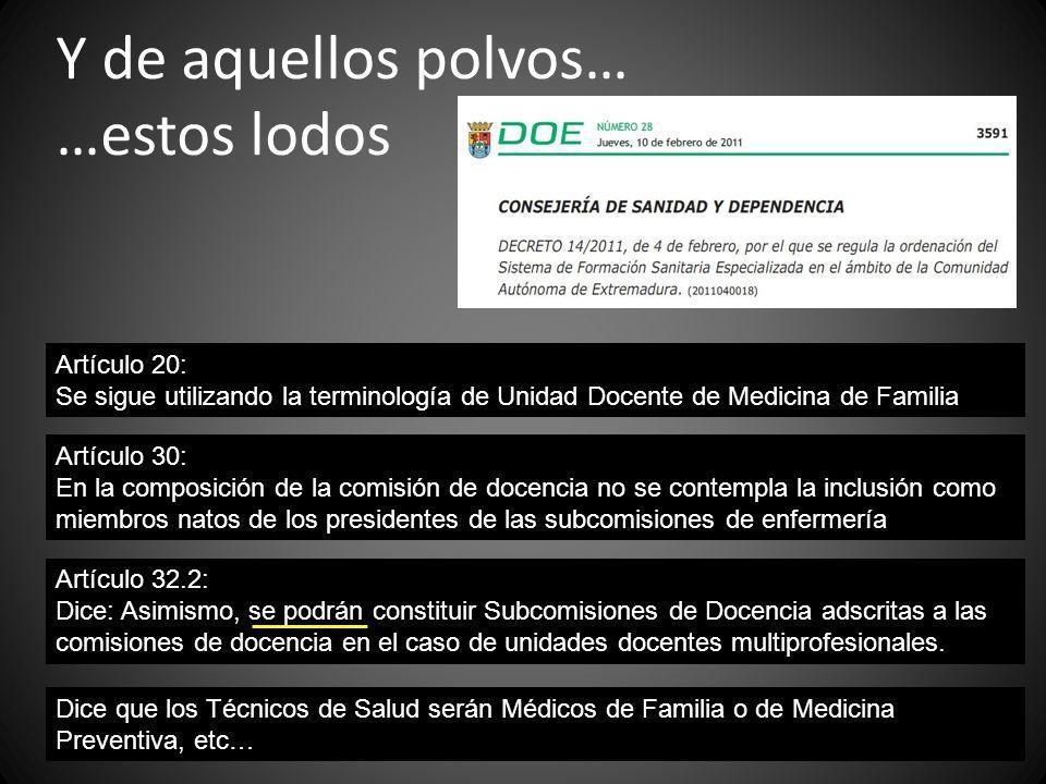 Y de aquellos polvos… …estos lodos Artículo 20: Se sigue utilizando la terminología de Unidad Docente de Medicina de Familia Artículo 30: En la compos