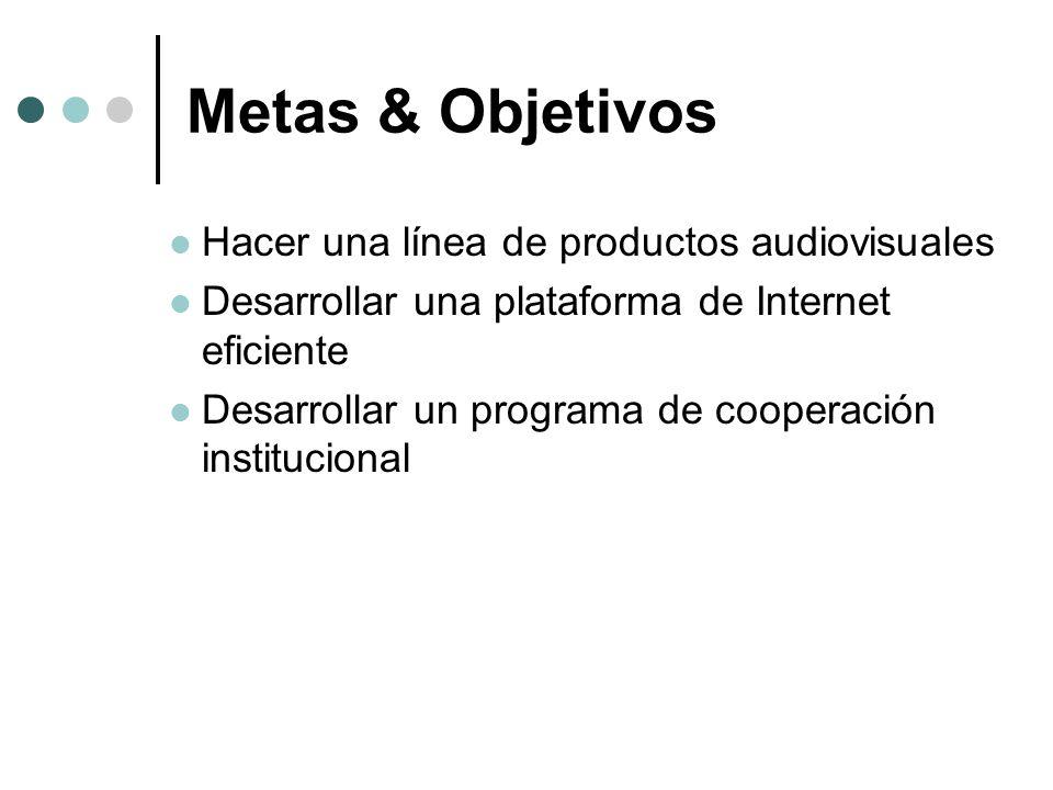 Metas & Objetivos Hacer una línea de productos audiovisuales Desarrollar una plataforma de Internet eficiente Desarrollar un programa de cooperación i