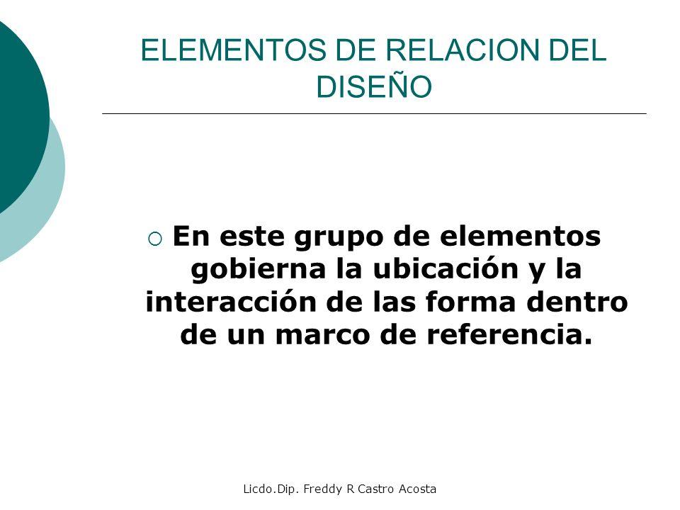 Licdo.Dip. Freddy R Castro Acosta ELEMENTOS DE RELACION DEL DISEÑO En este grupo de elementos gobierna la ubicación y la interacción de las forma dent