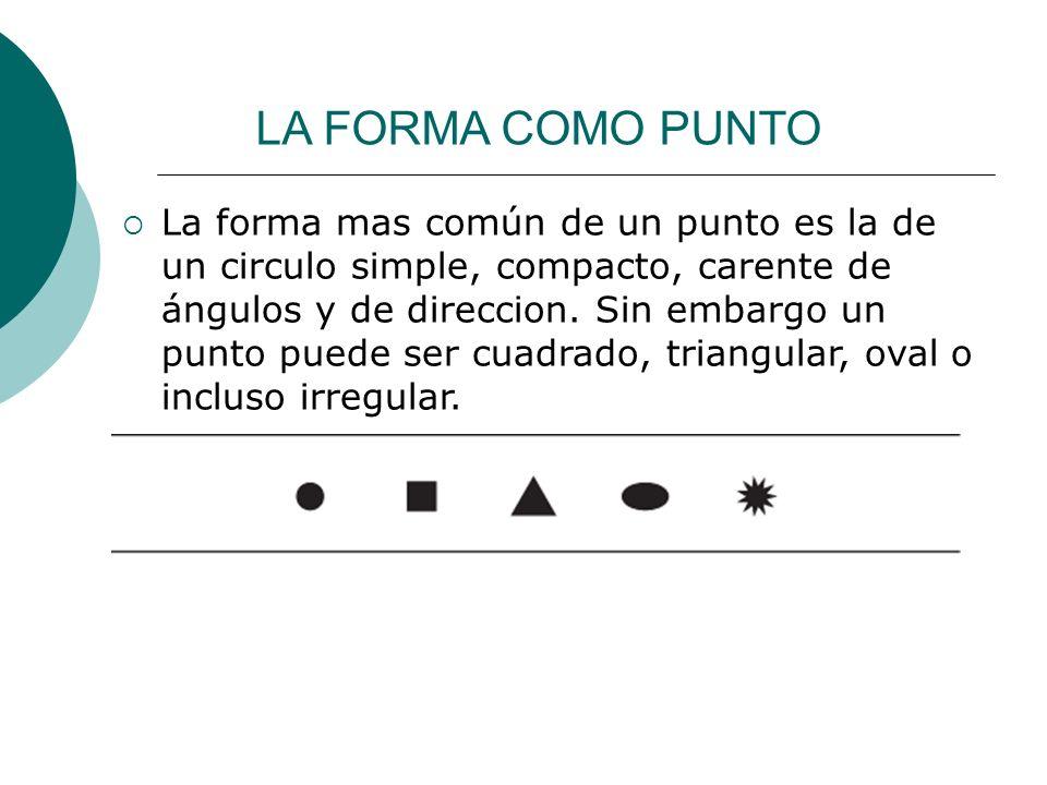 Licdo.Dip. Freddy R Castro Acosta LA FORMA COMO PUNTO La forma mas común de un punto es la de un circulo simple, compacto, carente de ángulos y de dir