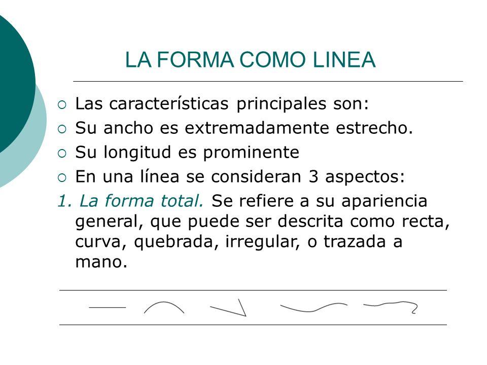 Licdo.Dip. Freddy R Castro Acosta LA FORMA COMO LINEA Las características principales son: Su ancho es extremadamente estrecho. Su longitud es promine