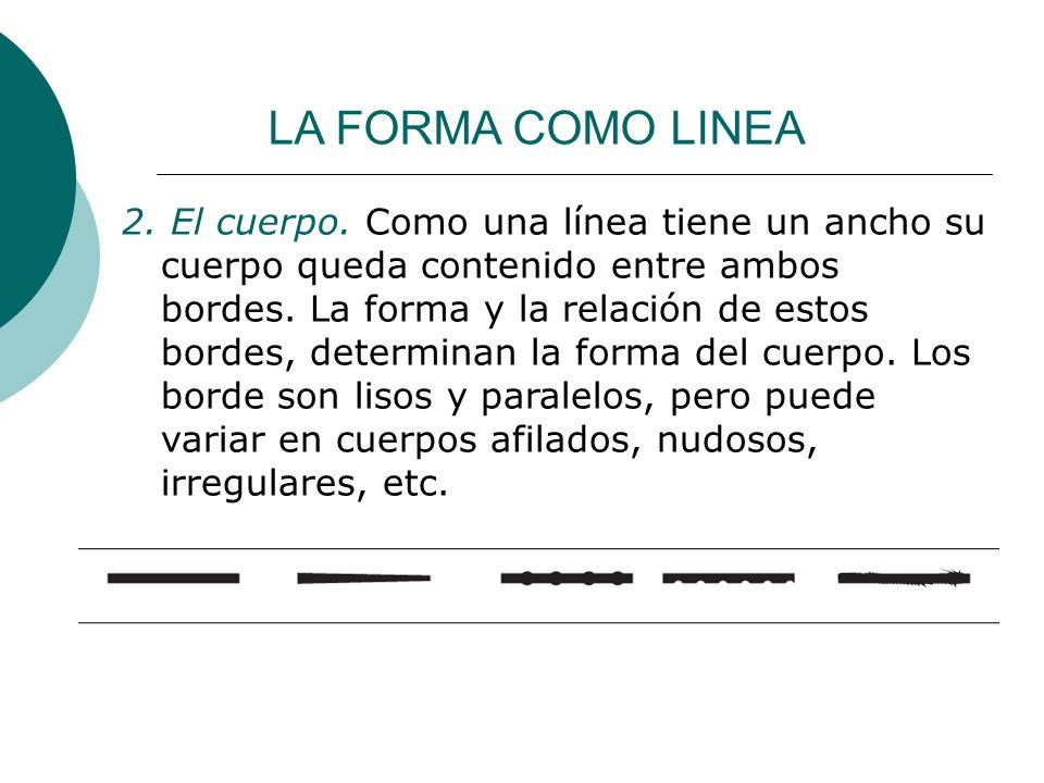Licdo.Dip. Freddy R Castro Acosta LA FORMA COMO LINEA 2. El cuerpo. Como una línea tiene un ancho su cuerpo queda contenido entre ambos bordes. La for