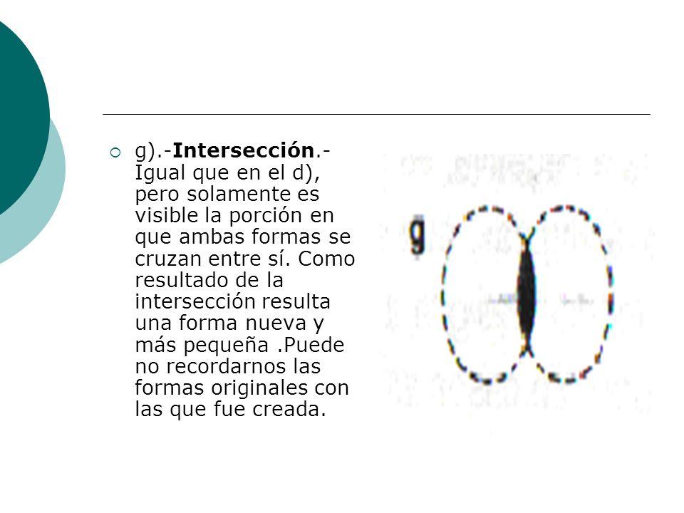 Licdo.Dip. Freddy R Castro Acosta g).-Intersección.- Igual que en el d), pero solamente es visible la porción en que ambas formas se cruzan entre sí.