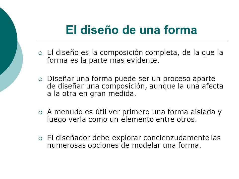 Licdo.Dip. Freddy R Castro Acosta El diseño de una forma El diseño es la composición completa, de la que la forma es la parte mas evidente. Diseñar un