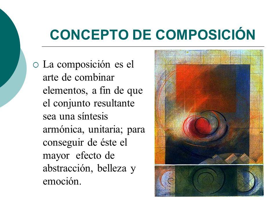 Licdo.Dip. Freddy R Castro Acosta CONCEPTO DE COMPOSICIÓN La composición es el arte de combinar elementos, a fin de que el conjunto resultante sea una