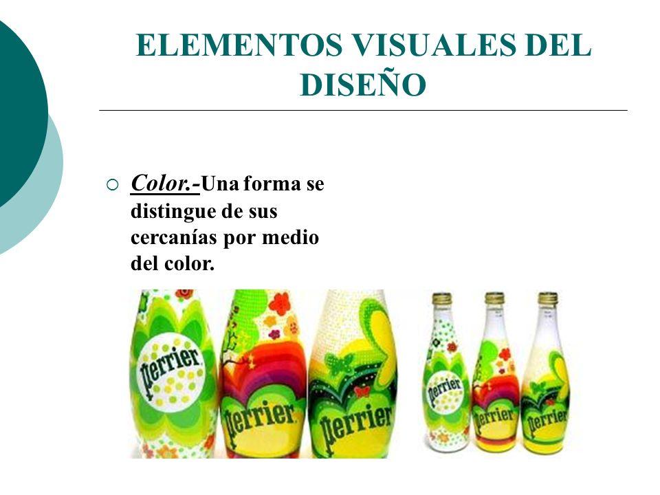 Licdo.Dip. Freddy R Castro Acosta ELEMENTOS VISUALES DEL DISEÑO Color.- Una forma se distingue de sus cercanías por medio del color.