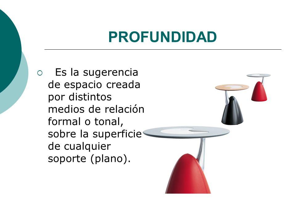Licdo.Dip. Freddy R Castro Acosta PROFUNDIDAD Es la sugerencia de espacio creada por distintos medios de relación formal o tonal, sobre la superficie
