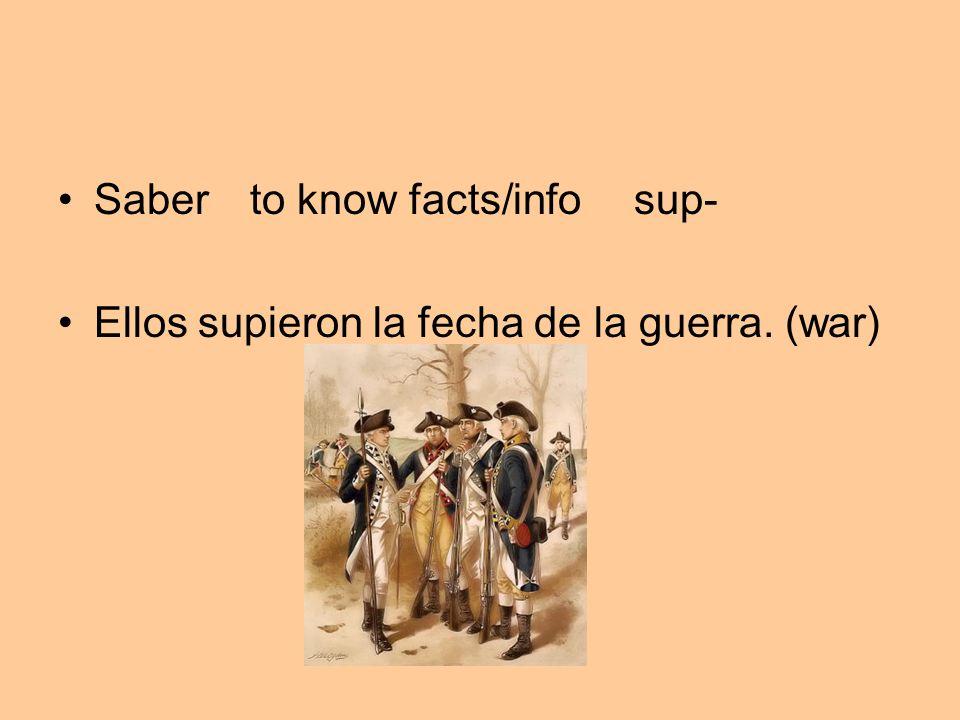 Saber to know facts/infosup- Ellos supieron la fecha de la guerra. (war)