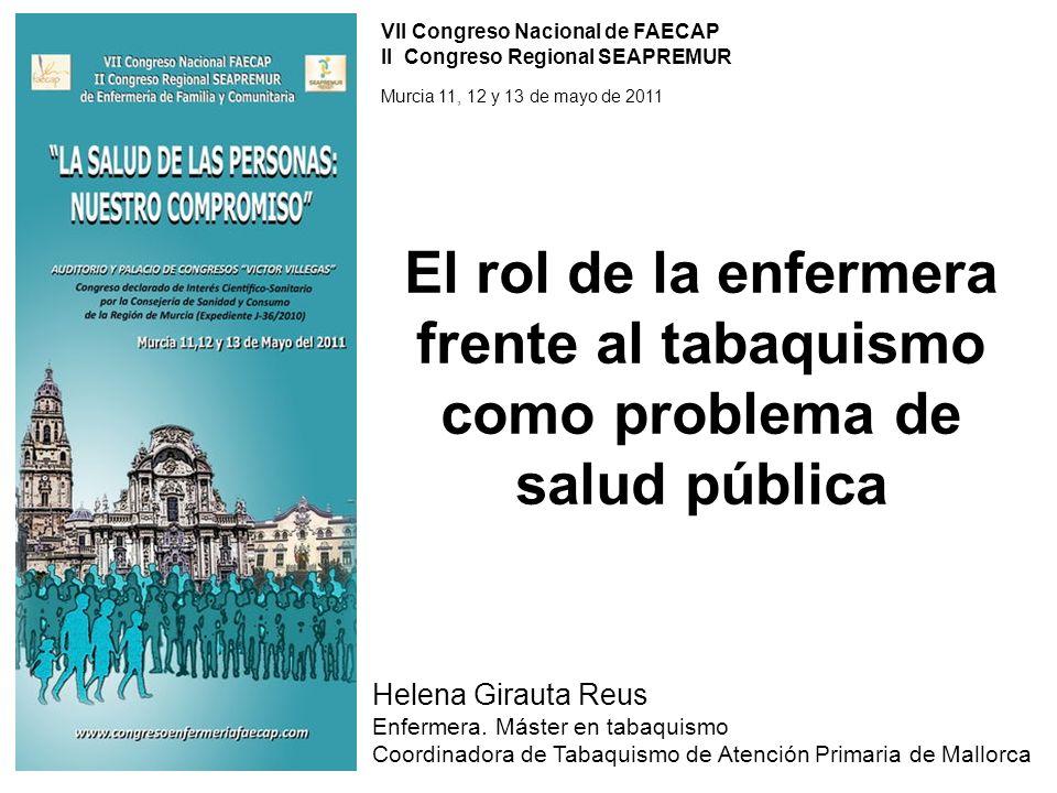 Helena Girauta Reus Enfermera. Máster en tabaquismo Coordinadora de Tabaquismo de Atención Primaria de Mallorca VII Congreso Nacional de FAECAP II Con