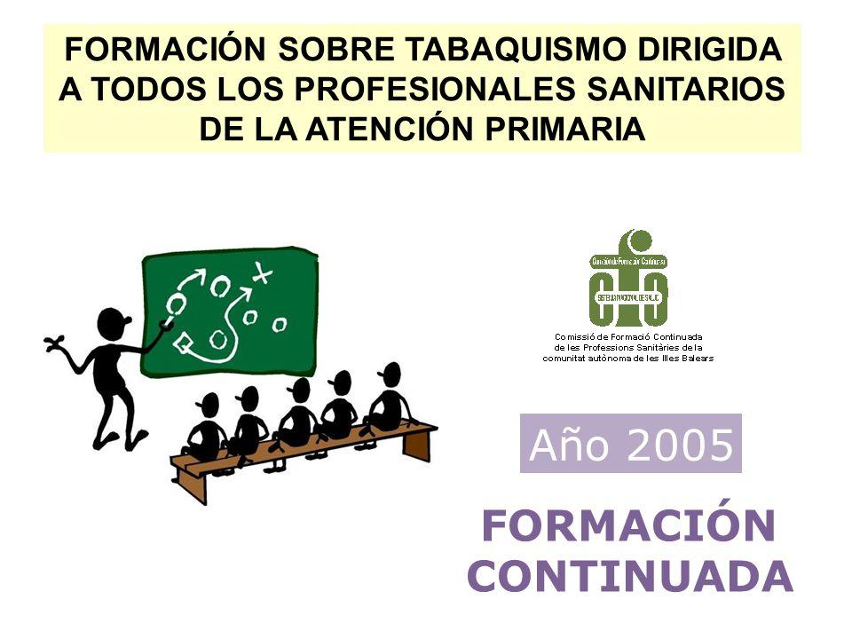 FORMACIÓN SOBRE TABAQUISMO DIRIGIDA A TODOS LOS PROFESIONALES SANITARIOS DE LA ATENCIÓN PRIMARIA FORMACIÓN CONTINUADA Año 2005
