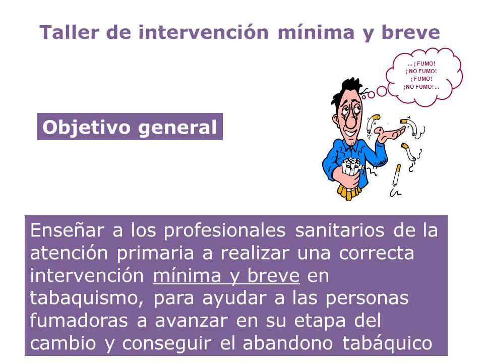 Taller de intervención mínima y breve Enseñar a los profesionales sanitarios de la atención primaria a realizar una correcta intervención mínima y bre