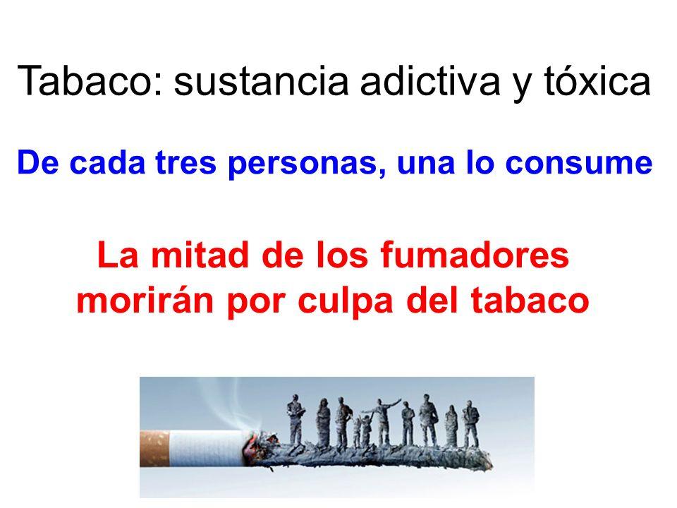 De cada tres personas, una lo consume Tabaco: sustancia adictiva y tóxica La mitad de los fumadores morirán por culpa del tabaco