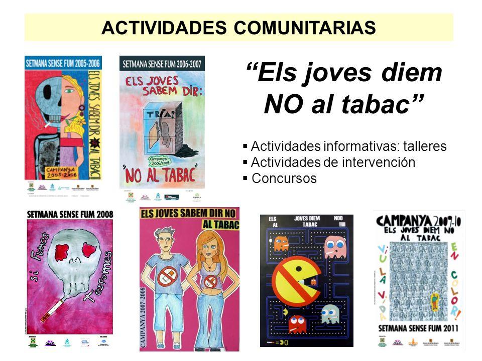 Els joves diem NO al tabac Actividades informativas: talleres Actividades de intervención Concursos ACTIVIDADES COMUNITARIAS